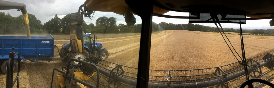 Riding on a combine